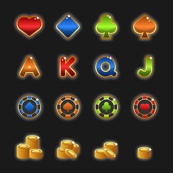 카지노 세트는 비디오 게임을 위한 게임 사용자 인터페이스(gui) 일러스트레이션을 디자인했습니다.