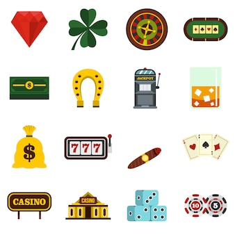 Casino set flat icons