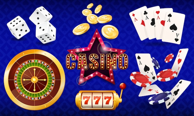 Casino, set of illustrations, dice, cards, casino chips, roulette, slot machine.