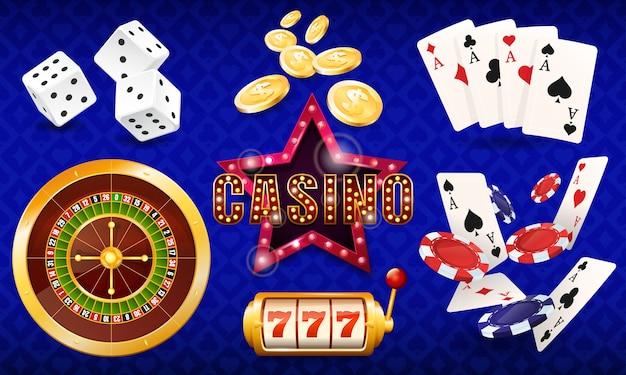 Казино, набор иллюстраций, кости, карты, фишки казино, рулетка, игровой автомат.
