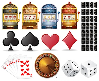 Casino set with cards and games illustration