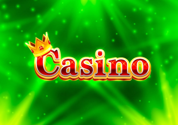 Casino signboard, text banner on the green background. vector illustration
