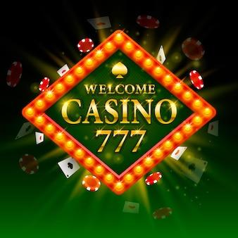Casino signboard welcome. billboard 777. shining retro light frame. vector illustration