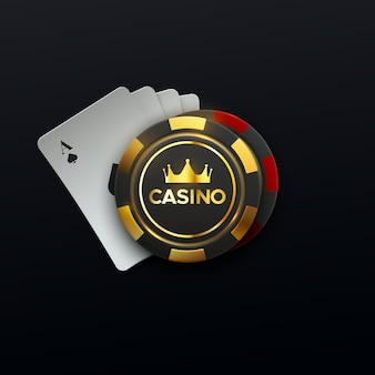 Casino sing of four playing cards and gambling chips with golden crown
