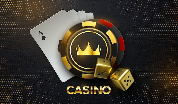 Casino sing of playing cards and gambling chips with golden crown and dices  with bursting glitters