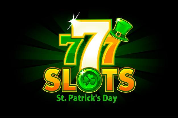 緑の背景に聖パトリックの日のカジノスロット。ロゴスロットとクローバーと帽子のシンボルの休日。