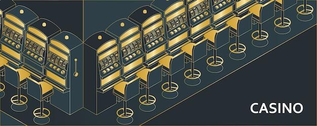 Игровой автомат казино в изометрической плоский стиль. игровое устройство на одной руке