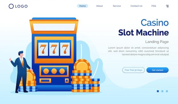 Casino slot machine landing page website flat illustration