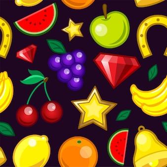 카지노 슬롯 머신 패턴 - 원활한 현대 소재 디자인 배경. 게임, 도박, 승자 개념입니다. 과일, 바나나, 체리, 레몬, 포도, 수박, 사과, 오렌지, 수정, 벨, 말굽, 별