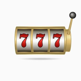 Casino slot machine with sevens jackpot on screen. vector illustration.