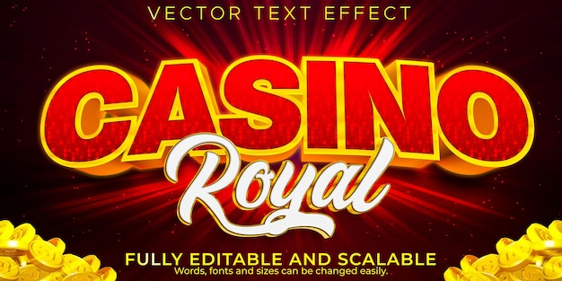 Casino slot text effect, editable winner and gambling text style