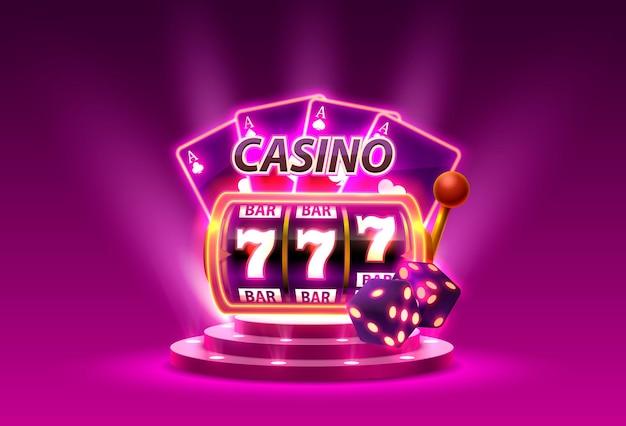 Слоты казино 777 победитель баннера, подиум сцены. векторная иллюстрация