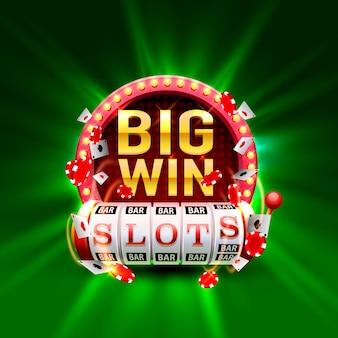 Casino slots big win 777 signboard. vector illustration