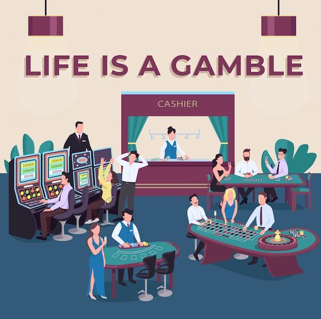 Казино в социальных сетях. жизнь это азартная фраза. игровые автоматы. шаблон веб-баннера. ускорение лотереи, макет контента с надписью. плакат, печатная реклама и плоская иллюстрация