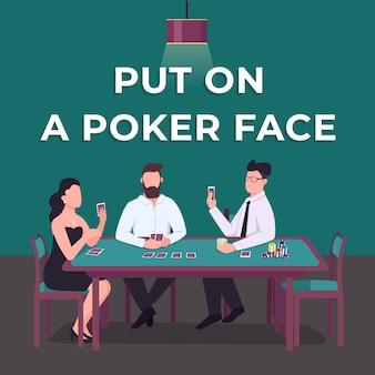 Казино в социальных сетях. положите на покер лицо фразу. шаблон веб-баннера. карточка dame booster конкурса, макет контента с надписью. плакат, печатная реклама и плоская иллюстрация