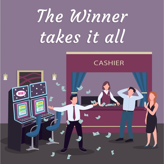 Casino social media post . winner takes it all phrase. web banner design template. slot machine play booster, content layout with inscription.