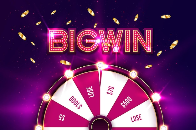 Casino spinning fortune wheel banner. roulette,  jackpot big win.