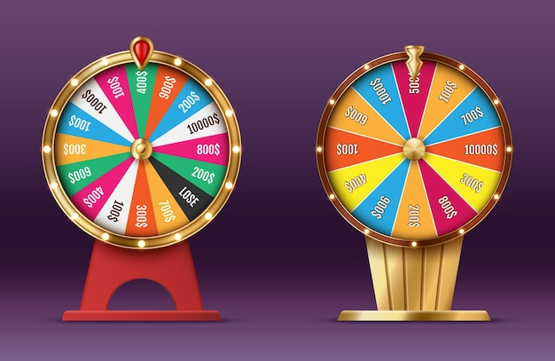 Casino spinning fortune wheel realistic. rotating roulette, lottery game isolated. gambling business