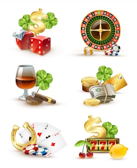 Casino symbols attributes 6 icons set