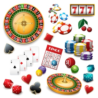 Casino symbols set composition poster