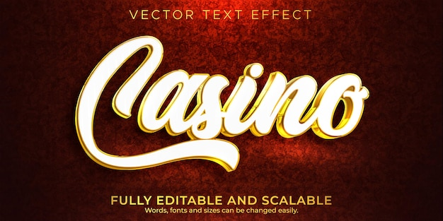 Casino text effect Free Vector