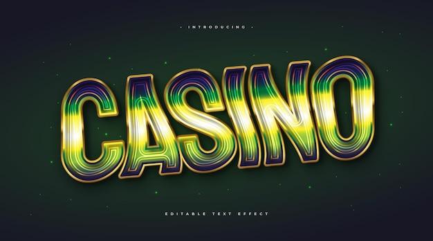 Текст казино в зеленом и золотом цветах с волнистым и светящимся эффектом. редактируемый эффект стиля текста