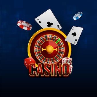 青の背景に3dルーレットホイール、エースカード、サイコロ、ポーカーチップを備えたカジノテキスト。