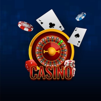 Casino text with 3d roulette wheel, ace cards, dices and poker chips on blue background.