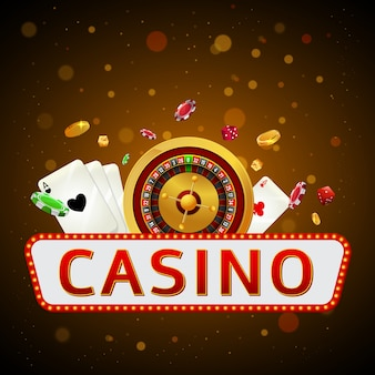Casino text with roulette wheel.