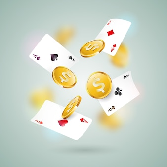 ポーカーカードのカジノテーマ、クリーンな背景の金貨。