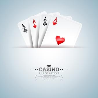 きれいな背景にポーカーカードを持つカジノのテーマ