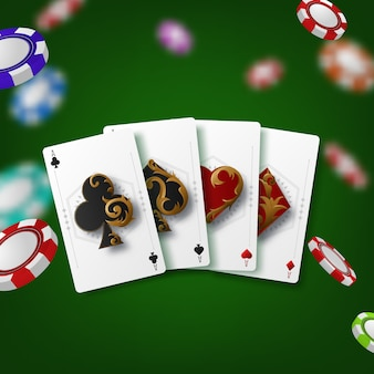 Casino theme with poker symbols and poker cards on green background.