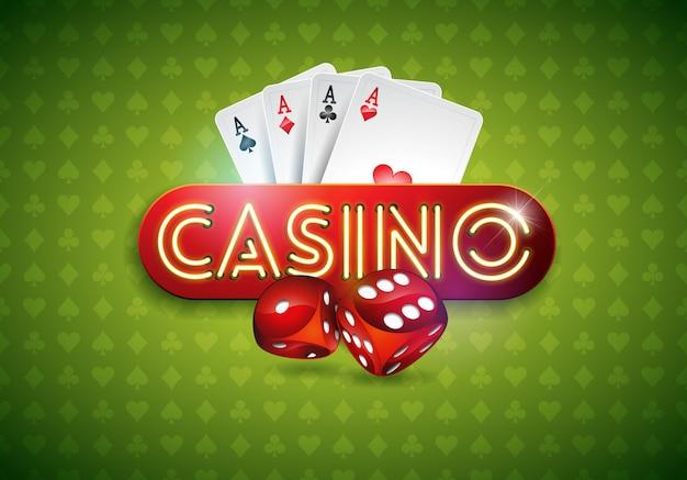 光沢のあるネオン光の文字とカードでカジノのテーマ、グリーンバック