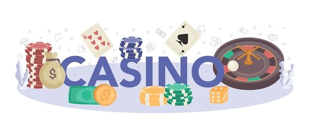 Casino typographic header. person in uniform behind gambling counter.