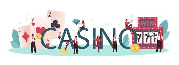 カジノの活版印刷の単語。ルーレットテーブルの近くのカジノのディーラー。ギャンブルカウンターの後ろに制服を着た人。カジノゲーム事業。孤立したベクトル図