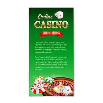 Казино вертикальный баннер, флаер, брошюра на тему казино с колесом рулетки, игровые карты и фишки