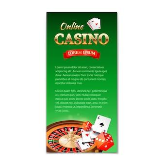 Казино вертикальный баннер, флаер, брошюра на тему казино с колесом рулетки, игровые карты и игральные кости
