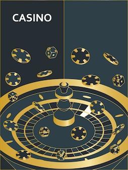 Вертикальный баннер казино. рулетка, фишки и кубики