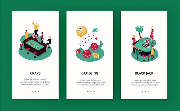 Casino vertical banners set with gambling symbols isometric isolated