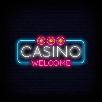Casino welcome neon sign signboard effect