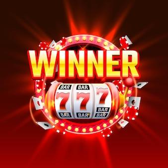カジノの勝者は777バナーをスロットします。ベクトルイラスト