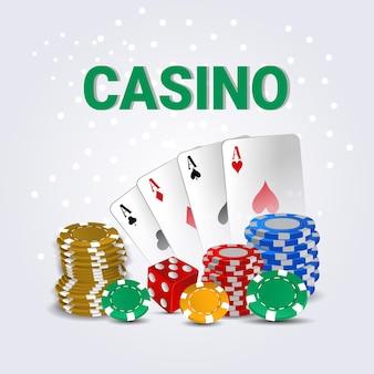 創造的なトランプを備えたカジノ、カラフルなカジノチップを備えた金貨