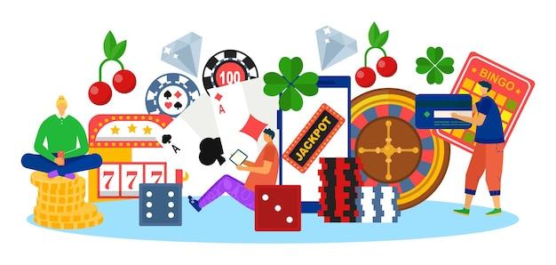 행운 게임 온라인 카지노, 벡터 일러스트 레이 션. 남자 여자 캐릭터는 대성공에서 플레이하고 평평한 상금을 위해 도박을 합니다. 슬롯, 룰렛, 포커, 스마트폰의 빙고, 사람이 카드로 결제합니다.