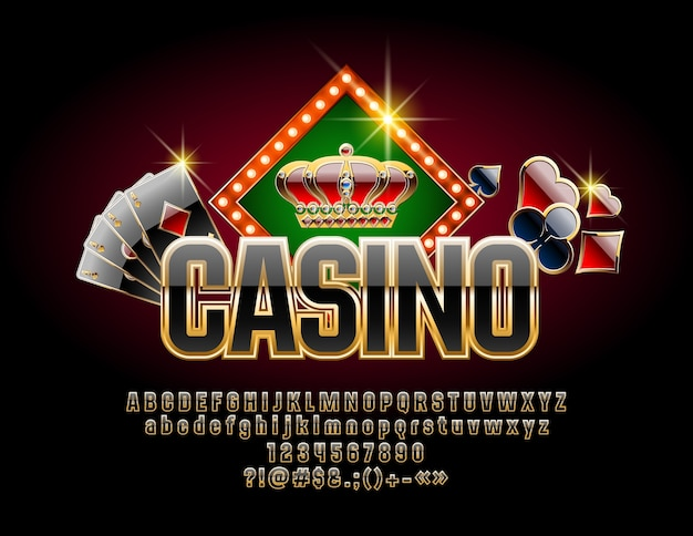 Casino with luxury font. set of black and gold letters, numbers and symbols
