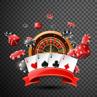Casino  with red ribbon on isolated transparent background.