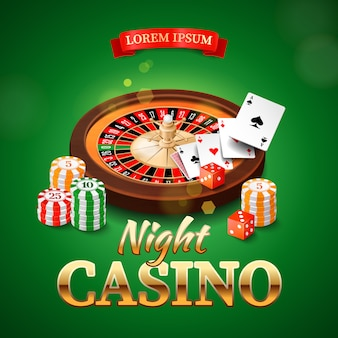 Casino   with roulette wheel, chips, game cards and dice