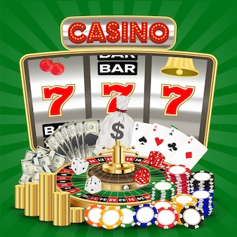 Casino with slot machine card game roulette chips