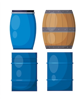 Casks on a white background