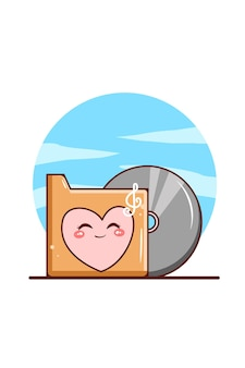 Cassette folder music icon cartoon illustration