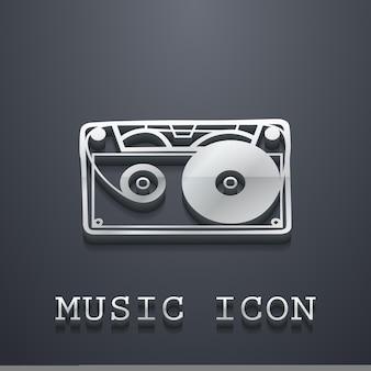 カセットアイコンイラスト、音楽パターン。クリエイティブで豪華なカバー